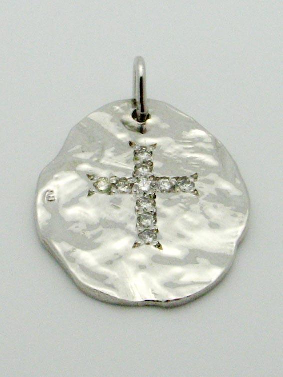 15658 14K WHITE GOLD HANDMADE DIAMOND CROSS PENDENT