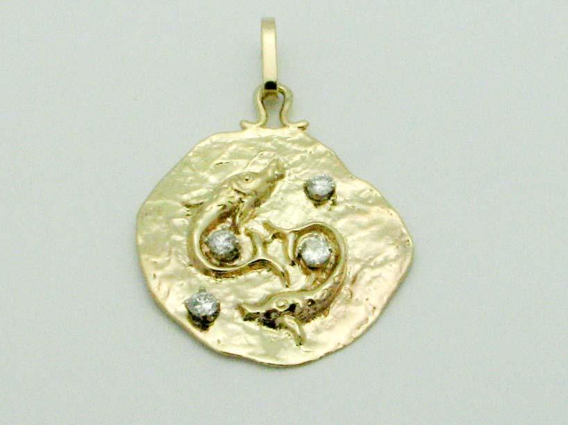 15762 14K YELLOW GOLD DIAMOND HANDMADE PISCES PENDENT