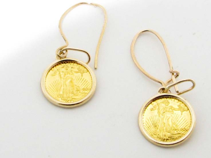 16233 21K YELLOW GOLD COIN EARRINGS