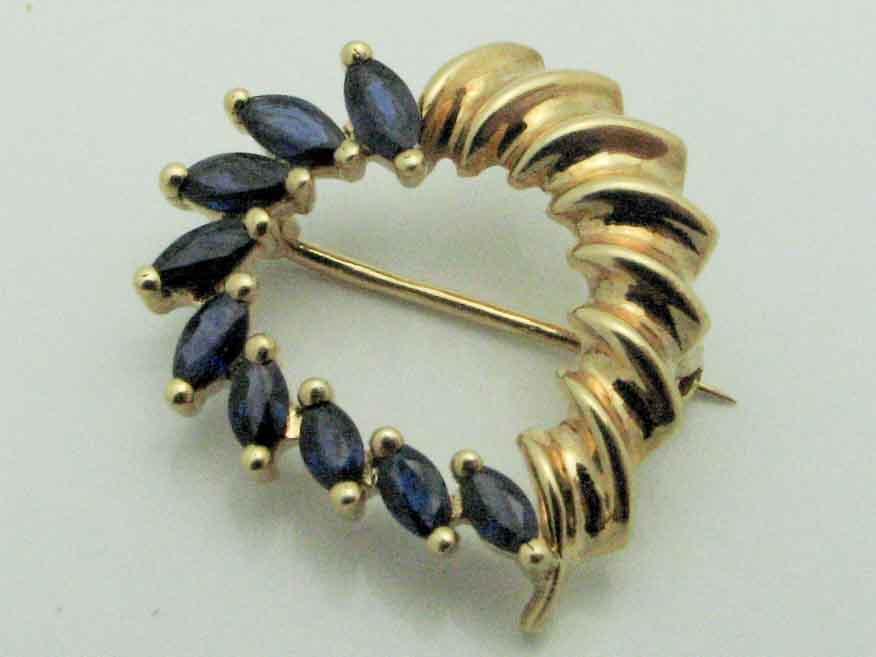 16597 14K YELLOW GOLD SAPPHIRE HEART PIN