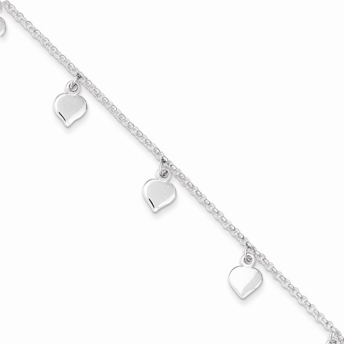 16709 STERLING SILVER HEARTS ANKLET